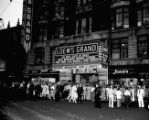 Loew's Grand Theatre, exterior with crowds, 1944