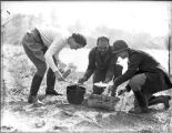 Nell Woodruff (Right) helps serve lunch during a hunting trip, Ichauway Plantation, Baker County,...
