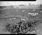 President Roosevelt addressing a crowd at Grant Field, 1935