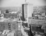 Aerial view of Atlanta at Five Points.Trust Company of Georgia building has large sign identifying...