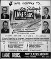 Newspaper clipping of advertisement for Lane Bros. Photo News Service, from unidentified...