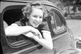 Agnes Scott College student leaning out of car window, Decatur, Georgia, September 1937.