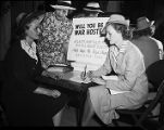 """War hostess"" registration as part of the USO's program sponsored by the Atlanta..."