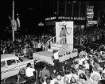 One in a series of night-time photographs of the WSB-TV parade in downtown Atlanta, Georgia,...