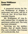 Obituary, Raven Wolfdancer, Atlanta Journal (December 23, 1993), page C6.