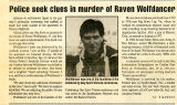 Police seek clues in murder of Raven Wolfdancer / KC Wildmoon. -- In Southern Voice, December 23,...