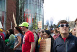 Protesters marching past the World of Coca-Cola, Atlanta March for Social Justice and Women,...
