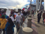 Protesters marching down Centennial Olympic Park Drive, Atlanta March for Social Justice and...