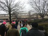 Crowd of protesters walking toward New Carrollton transit station, Women's March on Washington,...