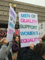 Women of the World Unite!!! and Men of Quality Support Women's Equality signs, Women's March on...