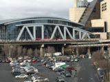 Marchers in front of Atlanta sign at Philips Arena, Atlanta March for Social Justice and Women,...