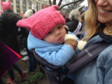 Close-up of baby wearing pussy hat, Women's March on Washington, 2017-01-21