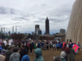 Protesters outside the Center for Civil and Human Rights, Atlanta March for Social Justice and...