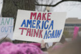 Make America Think Again sign, Women's March on Washington, 2017-01-21