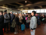 Crowd arriving at Ronald Reagan Washington National Airport, Women's March on Washington,...