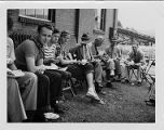 Tour group having lunch at Consolidation Coal Company's Mine 32 in Owens, West Virginia, 1952-07-15