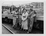 Tour group next to coal car at Consolidation Coal Company's Mine 32 in Owens, West Virginia,...