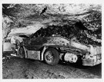 Mine shuttle car in Old Ben Coal Company's No. 9 Mine in West Frankfort, Illinois, 1948-07