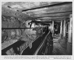 Miners using hydraulic jacks in longwall mining, circa 1960s