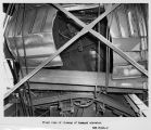 Front view of closeup of damaged elevator, 1957-09-23