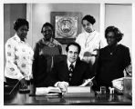 Atlanta Mayor Sam Massell signing Maids Honor Day Proclamation with Dorothy Bolden, 1971