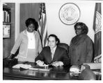 Atlanta Mayor Sam Massell signing Maids Honor Day Proclamation with Dorothy Bolden, 1970