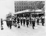 Georgia State University Drill Team and Pershing Rifles marching in a parade in Atlanta, circa...