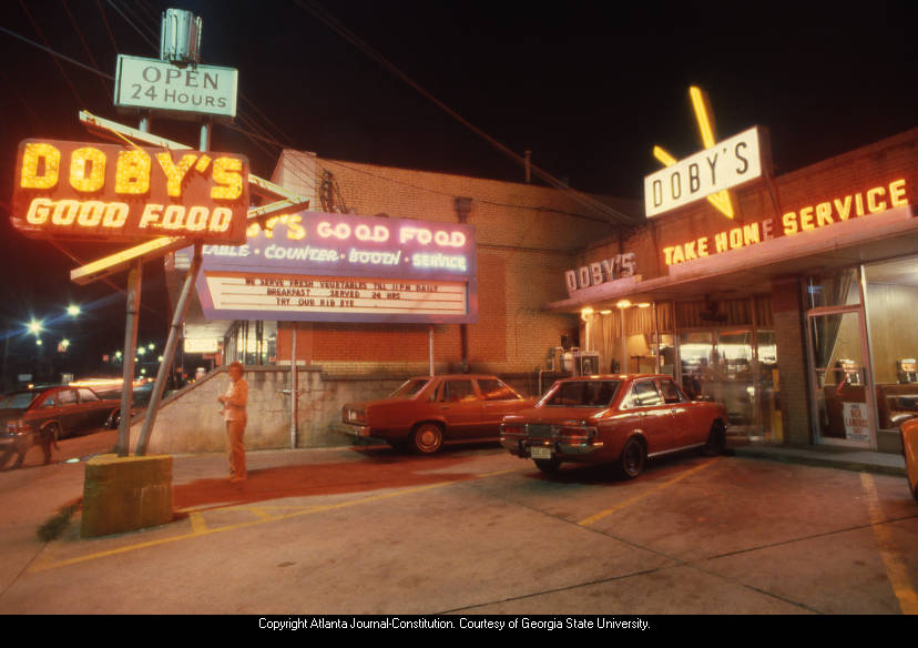Doby's Good Food restaurant exterior on Ponce de Leon, 1980